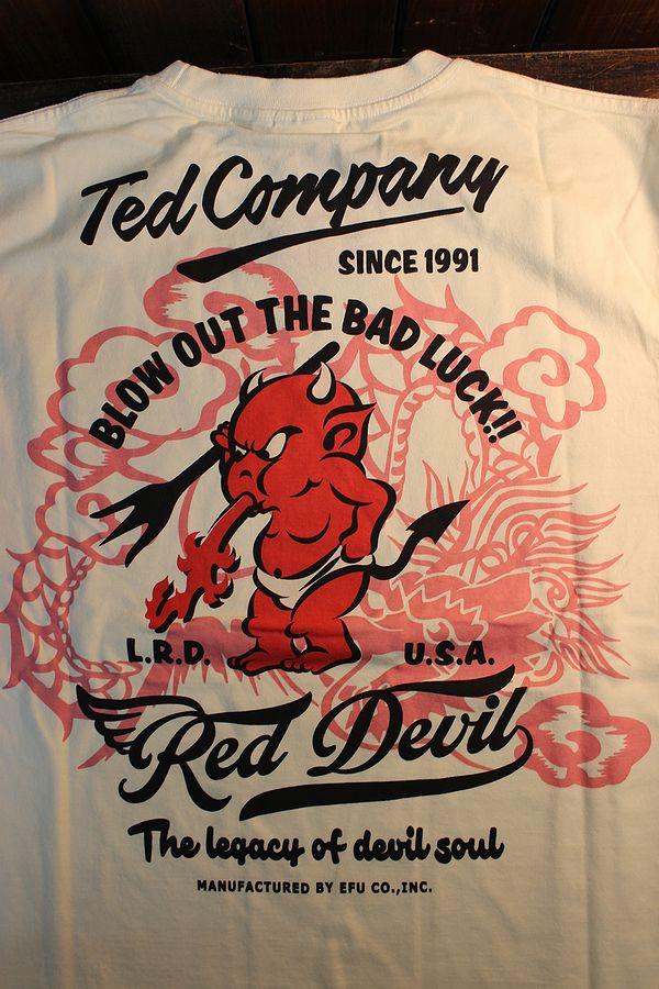 エフ商会 TEDMAN テッドマン TDLS-339 ドラゴン&テッドマン 和柄 長袖Tee ロンTee オフホワイト