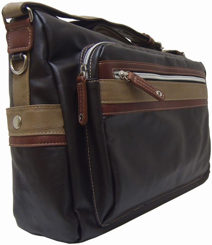 【HFSD0003】ショルダーバッグ 横型 《斜めがけバッグ》【A4ファイル対応】【男女兼用】【コットンPU加工】