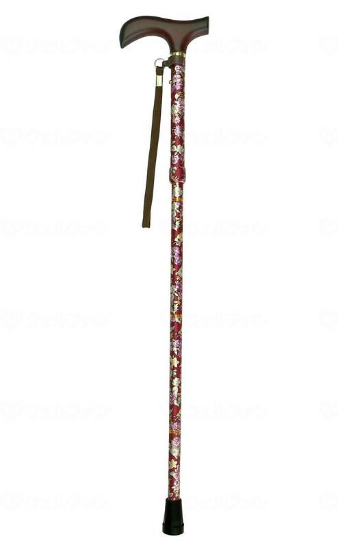 ☆ギフトボックス可☆ 夢ライフステッキ ショート柄杖折りたたみ伸縮型 花ワイン