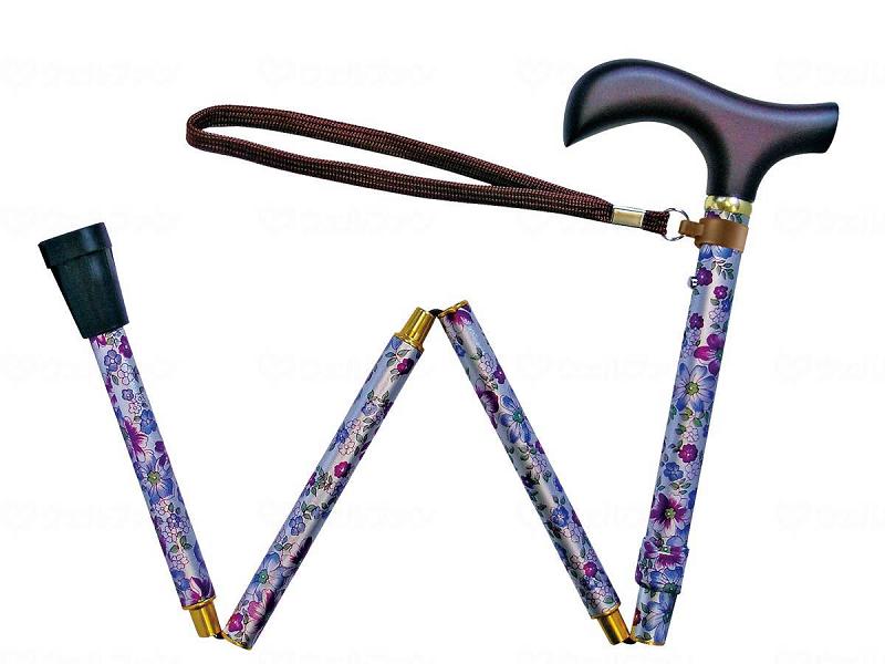 ☆ギフトボックス可☆ 夢ライフステッキ 柄杖折りたたみ伸縮型 花バイオレット