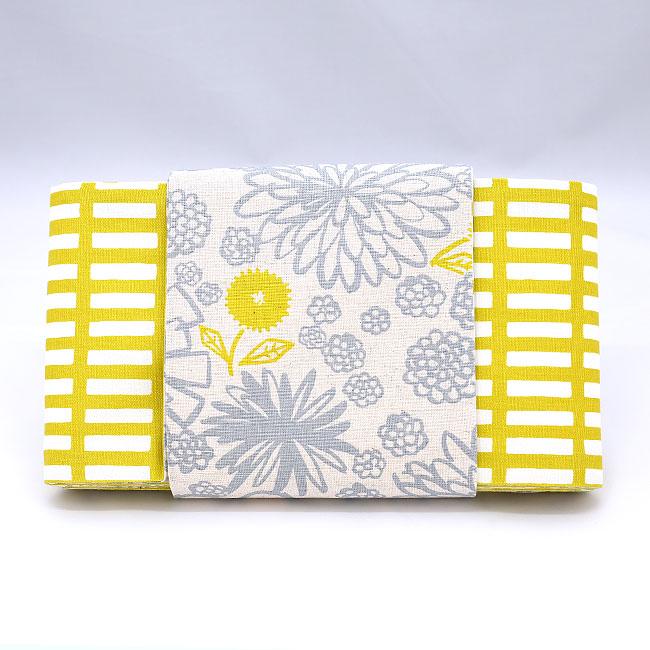 帯/きはるカジュアル半幅帯/両面使えるリバーシブル/生成地にグレーと黄色の花柄(裏:黄色と白の格子)/カジュアル/小紋にあわせておしゃれに