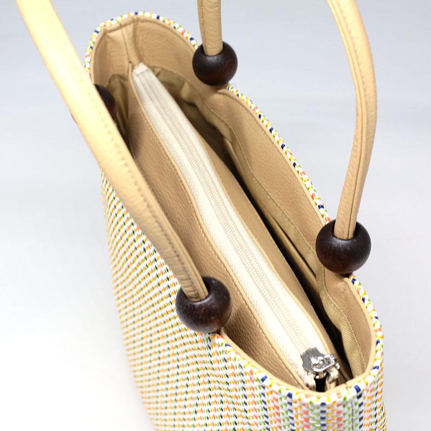 和装バッグ/和装小物/手提げバッグ/オフホワイト/パステルカラー/縞/サイズ:高さ約25(手持ち部分含まない)×横約28.5cm×マチ約11cm/日本製/通販