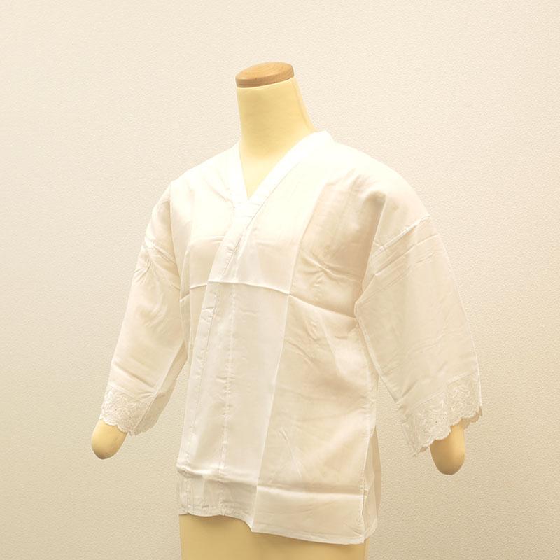 肌襦袢<細衿・レース付>/筒袖細えり/肌着/インナー/和装小物/Mサイズ身丈約60cm,身幅約54cm,裄約55cm/着心地快適/ポリノジック100%/日本製