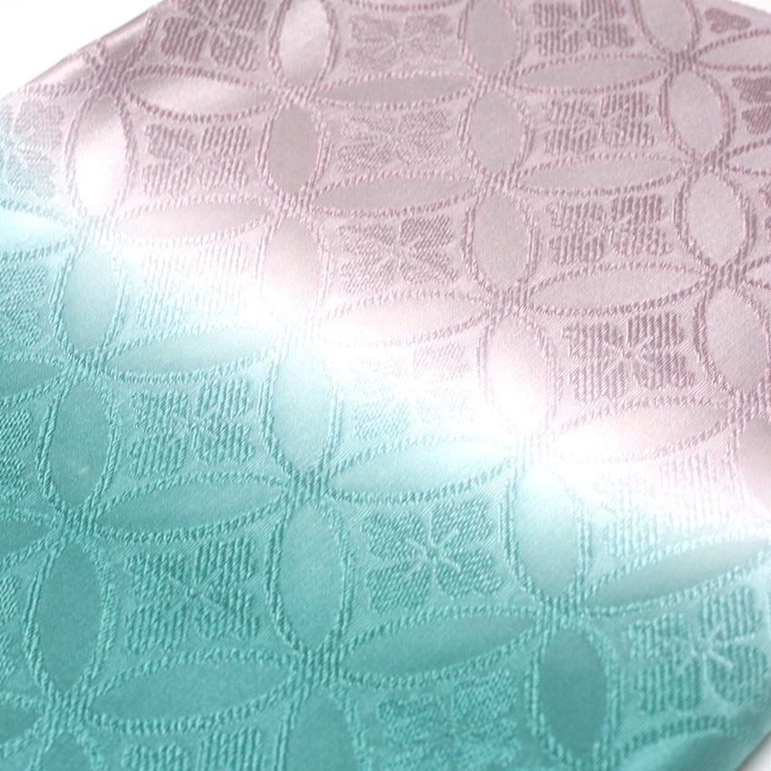 帯揚げ/:ピンクパープル/グリーン/ぼかし/小紋/紬/フォーマル/カジュアル着物/約31.5×180cm/日本製