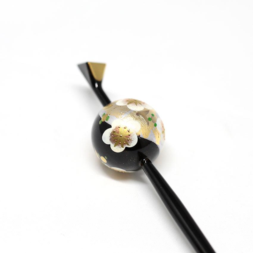 玉かんざし/一本かんざし/和装小物/黒×シルバー/梅/サイズ:長さ約16.5�、玉の直径 約2.5cm