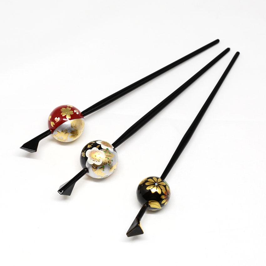 玉かんざし/一本かんざし/和装小物/黒/花/サイズ:長さ約16.5�、玉の直径 約2cm