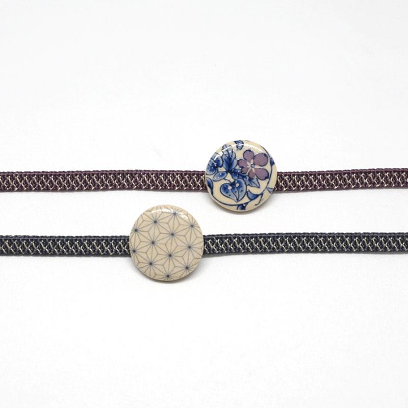 三分紐/和装小物/紫/亀甲筋/カジュアル/小紋や紬に/日本製/絹100%/通販