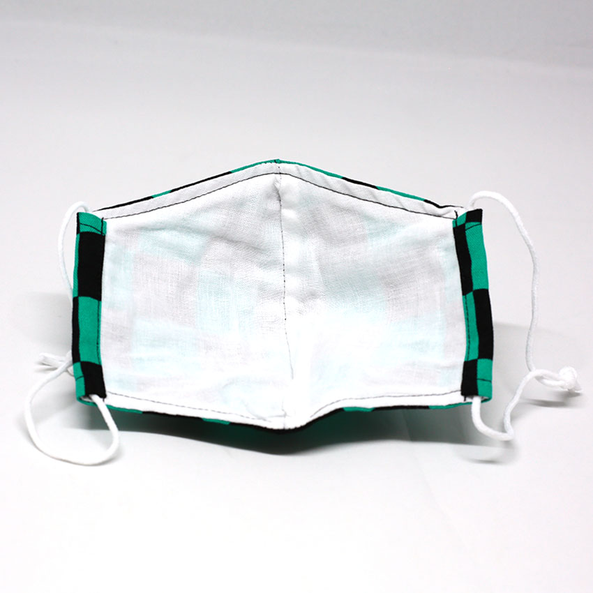 マスク/和装小物/緑×黒(市松)/和柄/カジュアル/普通サイズ/綿100%/日本製/通販