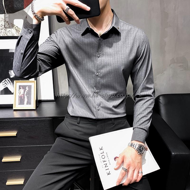 無地 シャツ シャツ メンズ 長袖 夏 ワイシャツ カジュアル 春 秋 通勤 通学 オフィス タイト ギフト プレゼント