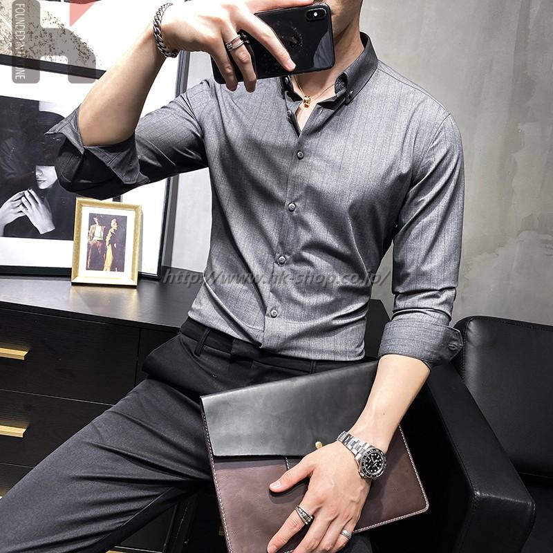 無地 メンズ シャツ 夏 春 ワイシャツ カジュアル シャツ 長袖 秋 通勤 通学 オフィス タイト ギフト プレゼント