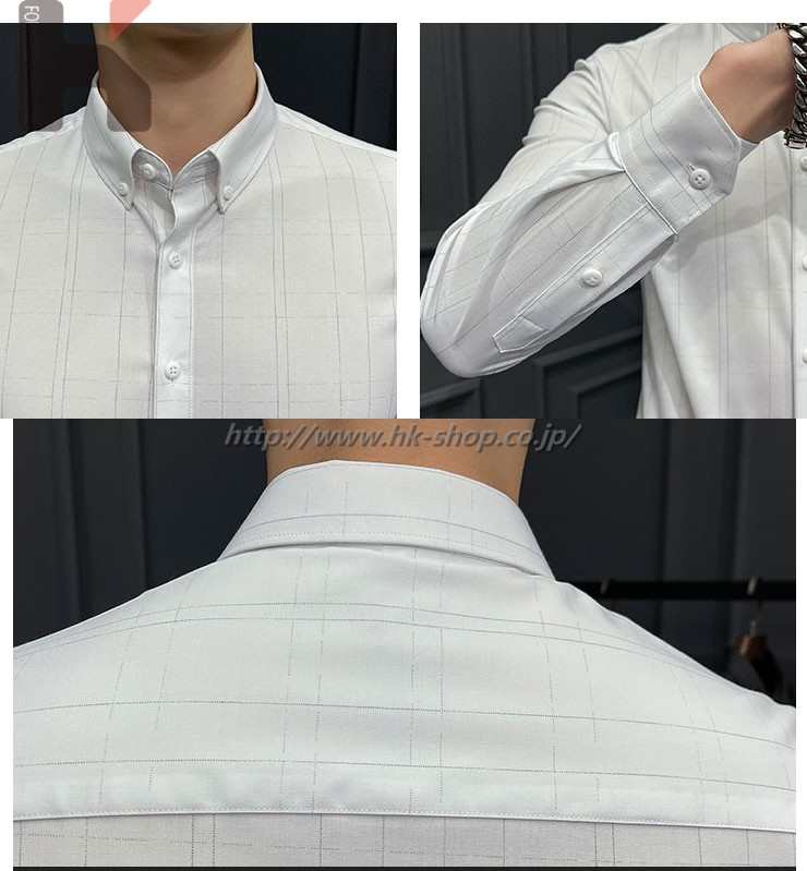 ワイシャツ シャツ 長袖 春 夏 無地 メンズ カジュアル シャツ 秋 通勤 通学 オフィス タイト ギフト プレゼント