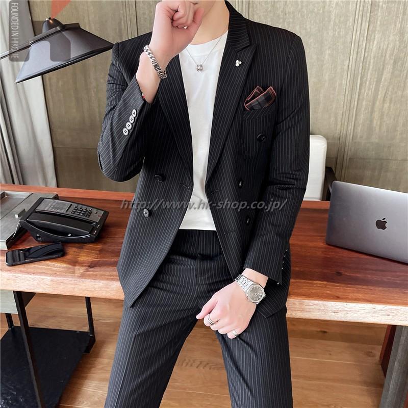 秋冬 メンズ ダブルスーツ 2点セット ビジネス スーツ スリム 春夏 ストライプ 通年 洗えるパンツウォッシャブル スリムスーツ ビジネススーツ 紳士 オシャレ セットアップ 人気