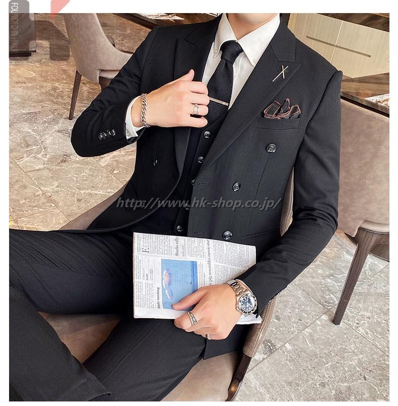 通勤ジャケット メンズ オフィススーツ シルエット スーツ ダブルスーツ ストライプ セットアップ シンプル 事務服 3点セット パンツスーツ 宴会 入園式 卒業式 フォーマルスーツ フォーマル ビジネススーツ リクルートスーツ オールシーズン用