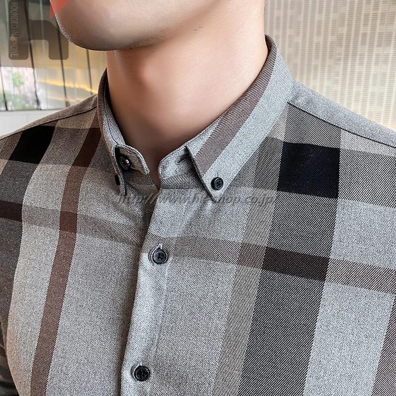 春 カジュアル メンズ シャツ ワイシャツ チェック柄 夏 シャツ 長袖 秋 通勤 通学 オフィス タイト ギフト プレゼント