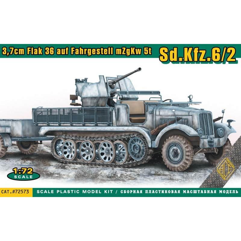 【新製品】72573 Sd.kfz.6/2 5tハーフトラック 3.7cm対空自走砲 弾薬トレーラー付き