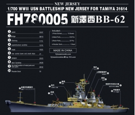 780005 WWII 米海軍 戦艦 BB-62 ニュージャージー ディティールセット