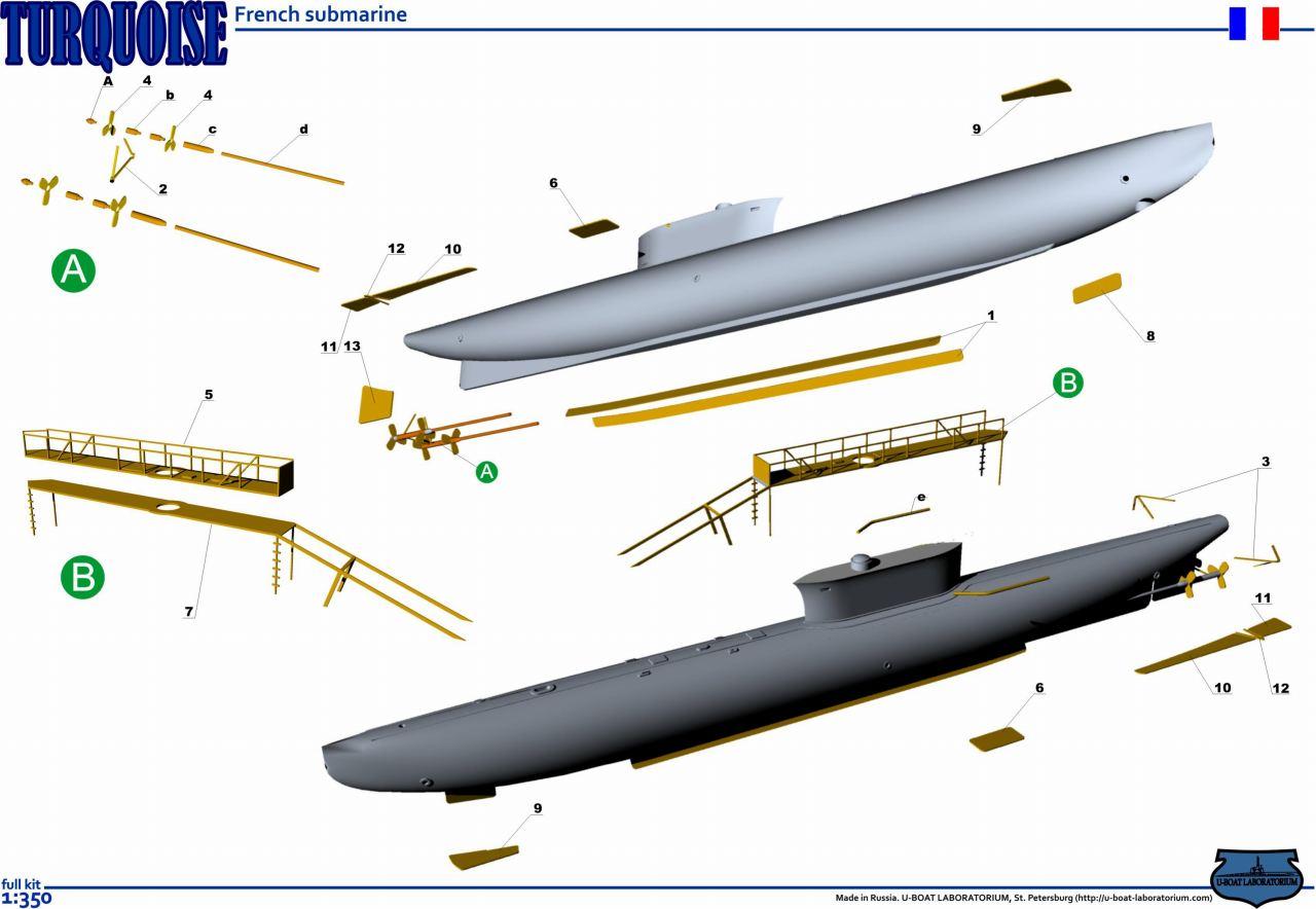 3577FH 潜水艦 テュルコアーズ Turquoise 初期 1908