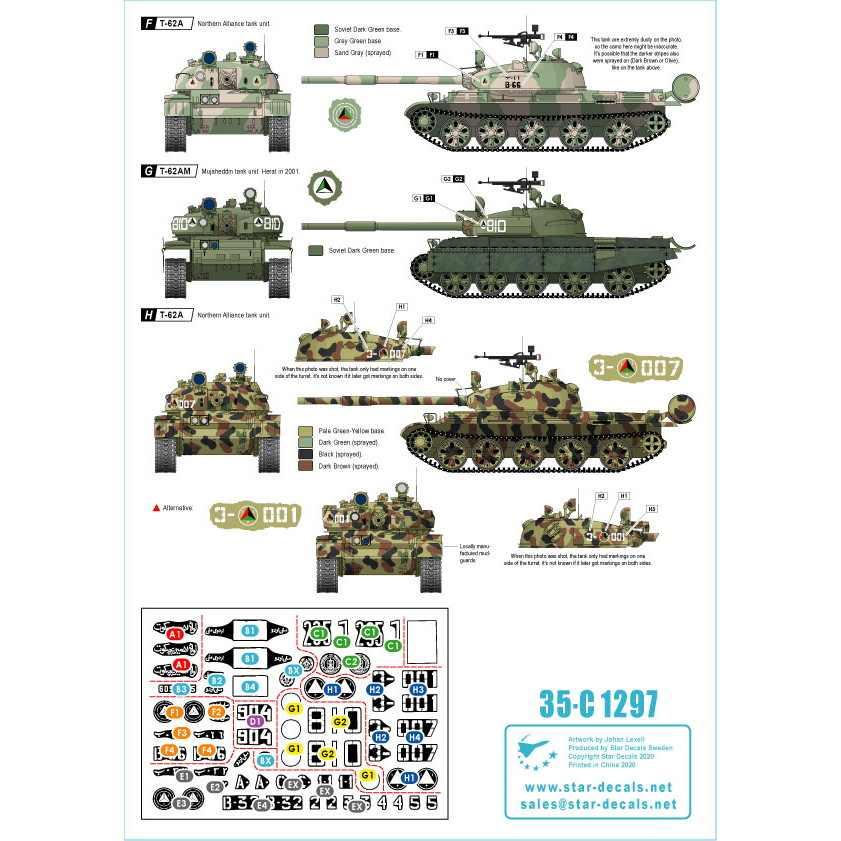 【新製品】35-C1297 現用 中央アジア アフガニスタンのT-62 北部同盟/タリバン&アフガニスタン国軍 T-62A/T-62AM