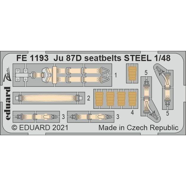 【新製品】FE1193 塗装済 1/48 ユンカース Ju87D スツーカ シートベルト (ステンレス製) (ハセガワ用)
