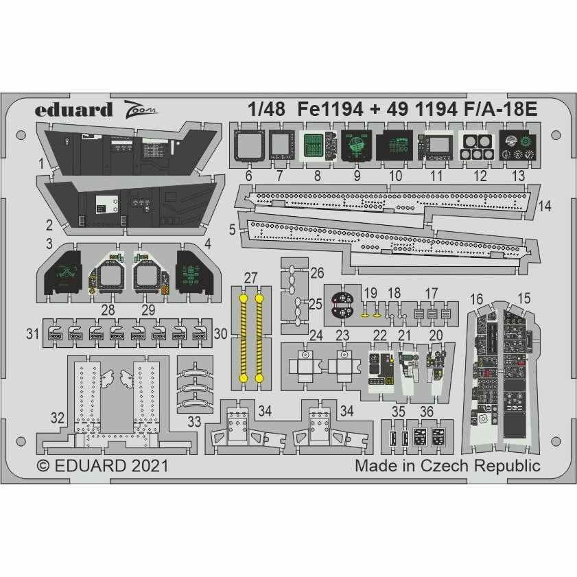 【新製品】FE1194 塗装済 1/48 ボーイング F/A-18E スーパーホーネット ズーム エッチングパーツ (モンモデル用)