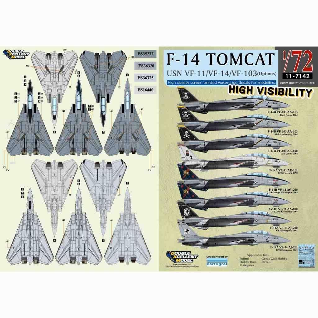 【新製品】11-7142 アメリカ海軍 F-14A/B トムキャット VF-11/VF-14/VF-103 ハイビジ