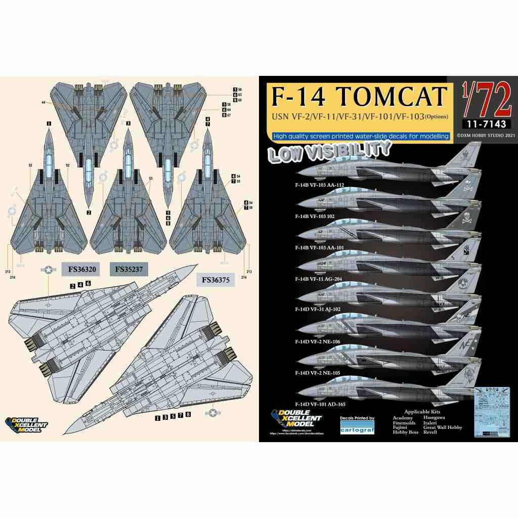 【新製品】11-7143 アメリカ海軍 F-14B/D トムキャット VF-2/VF-11/VF-31/VF-101/VF-103 ロービジ