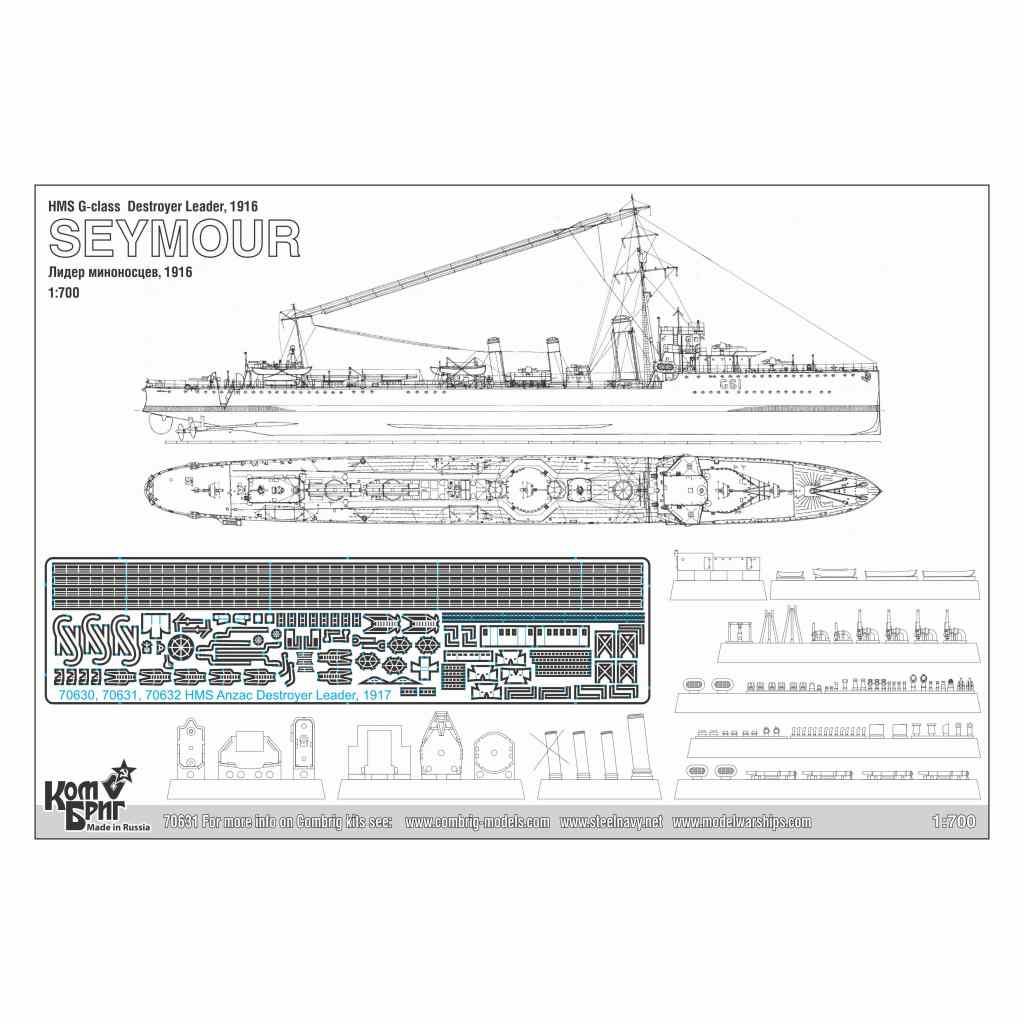 70631)英国海軍 アンザック級嚮導駆逐艦 セイモアー Seymour 1916