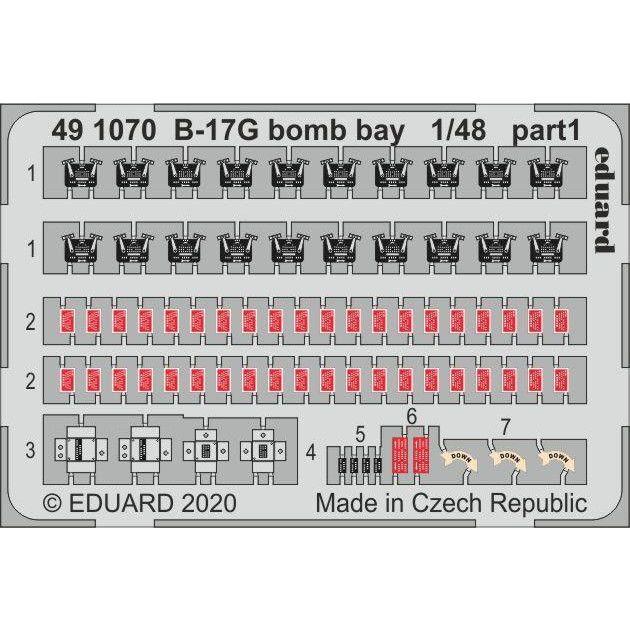 491070 塗装済 ボーイング B-17G フライングフォートレス 爆弾槽エッチングパーツ (HKモデル用)
