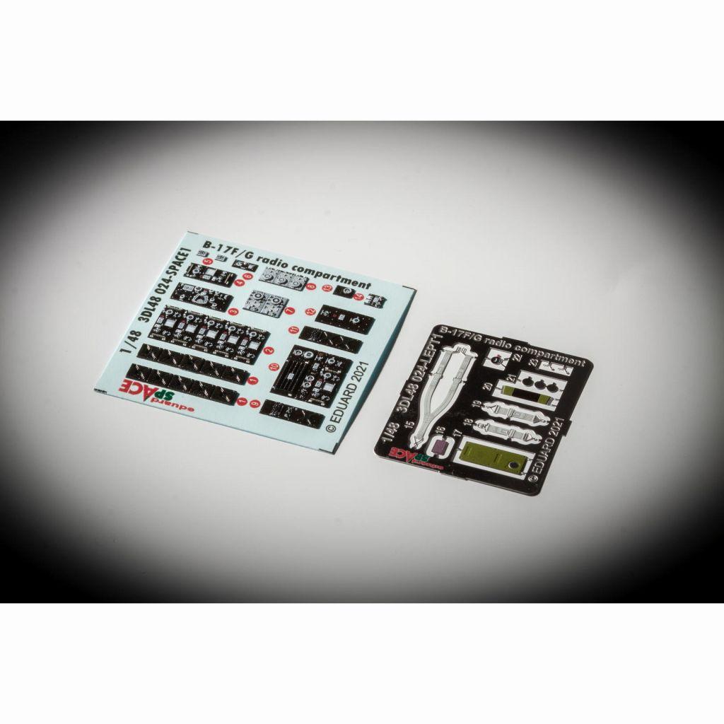 【新製品】3DL48024)1/48 ボーイング B-17F/G フライングフォートレス 無線室 「スペース」内装3Dデカール w/エッチングパーツセット (HKモデル用)