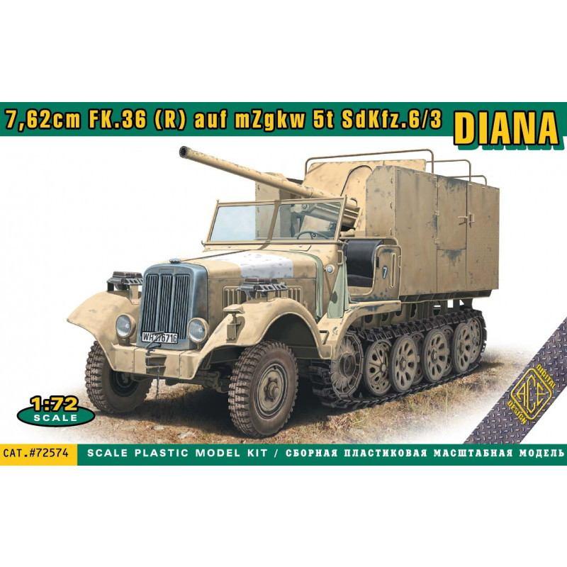 【予約受付中】72574 1/72 Sd.Kfz 6/3 5t ハーフトラック 「ダイアナ」w/7.62cm FK.36(R)野砲