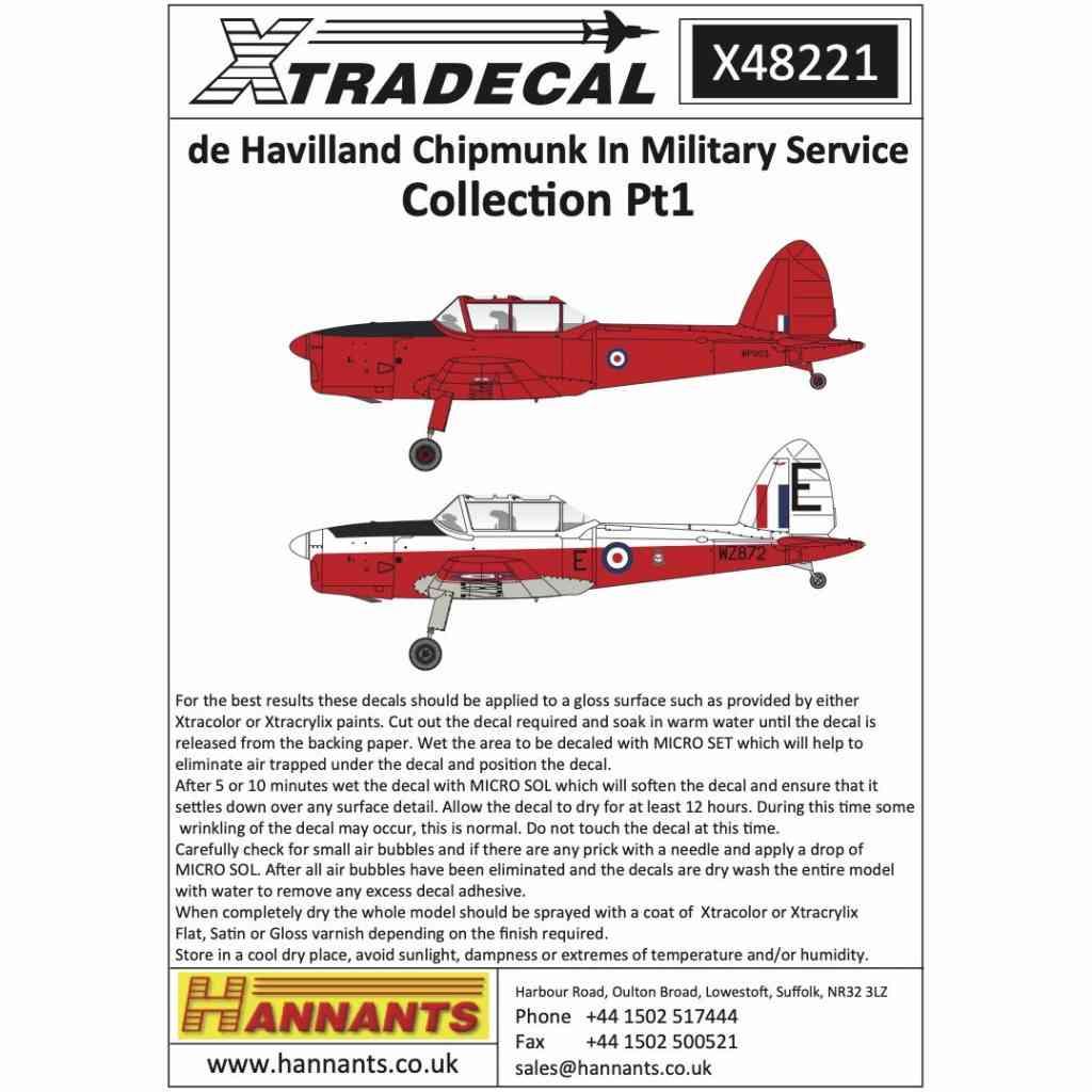 【新製品】X48221 デ・ハビランド チップマンク 軍用型 Pt.1