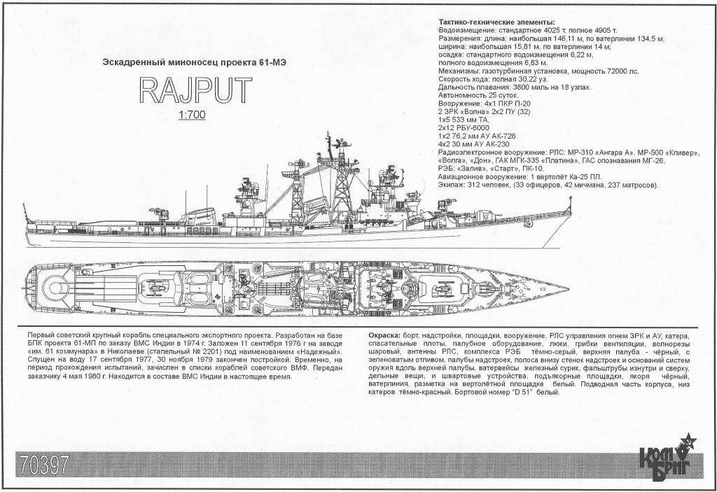 70397 インド海軍 ラジプット級駆逐艦 D-51 ラジプット Rajput Pr.61E