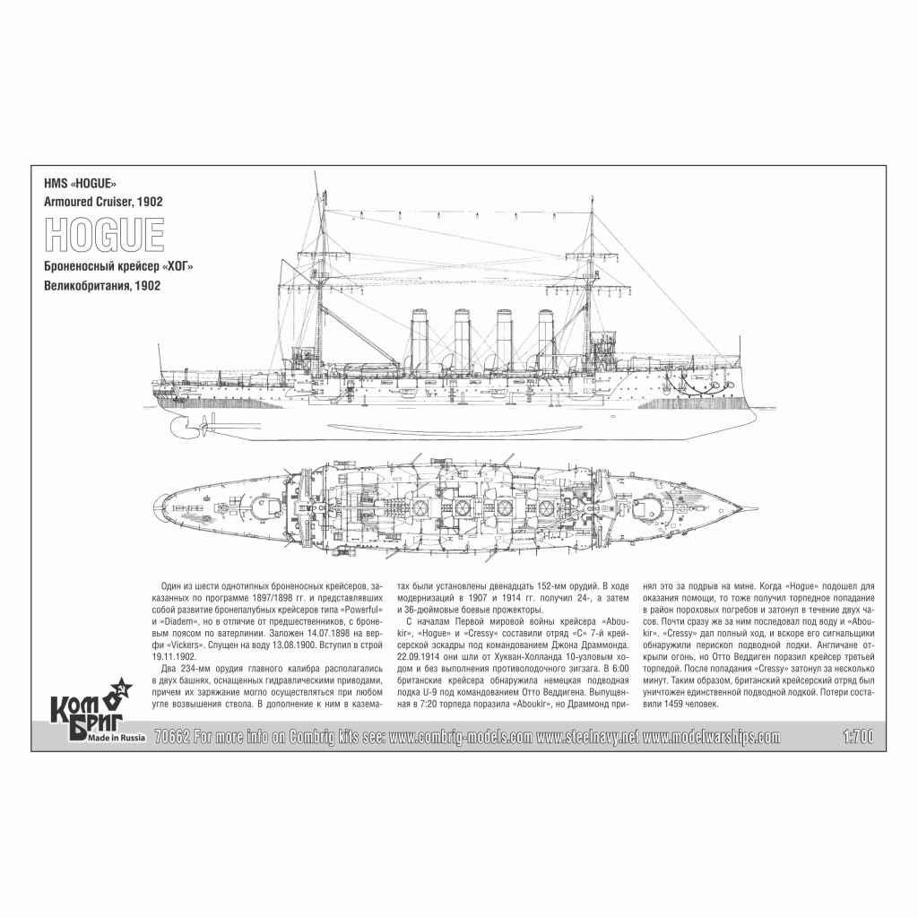 70662)英国海軍 クレッシー級装甲巡洋艦 ホーグ Hogue 1902
