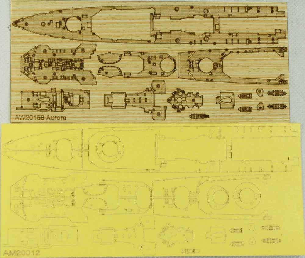 AM20012A 英国海軍 軽巡洋艦 オーロラ 1945用 木製甲板 マスキングシート