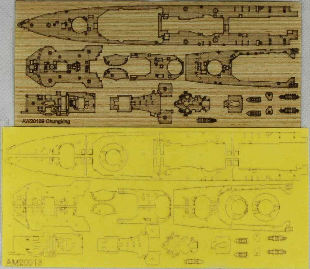 AM20013A 中華民国 軽巡洋艦 重慶用 木製甲板 マスキングシート