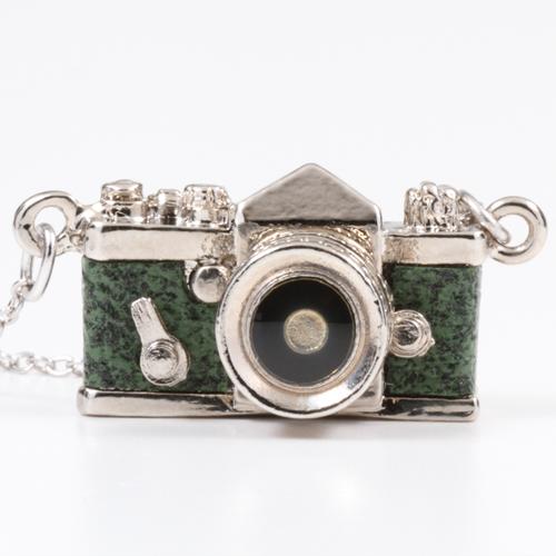 ミニチュアカメラネックレス 一眼レフタイプ グリーン