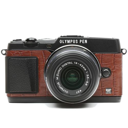 オリンパスペンE-P5用張り革キット 8030クロコブラウン