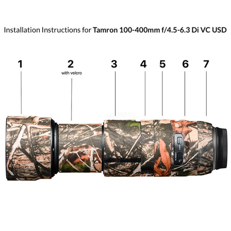 イージーカバー レンズオーク タムロン 100-400mm F/4.5-6.3 Di VC USD 用 フォレストカモフラージュ