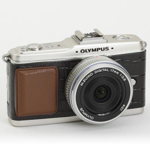 OLYMPUS ペン E-P1/E-P2 張り革キット<8010 クロコブラックー牛革ー>