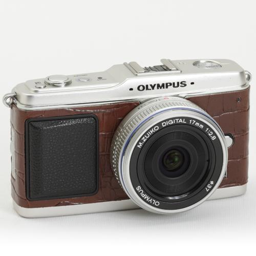 OLYMPUS ペン E-P1/E-P2 張り革キット<8030 クロコブラウンー牛革ー>