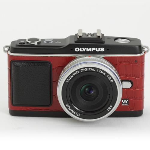 OLYMPUS ペン E-P1/E-P2 張り革キット<8020 クロコレッドー牛革ー>