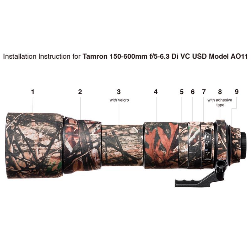 イージーカバー レンズオーク タムロン 150-600mm f/5-6.3 Di VC USD AO11 用 フォレスト カモフラージュ