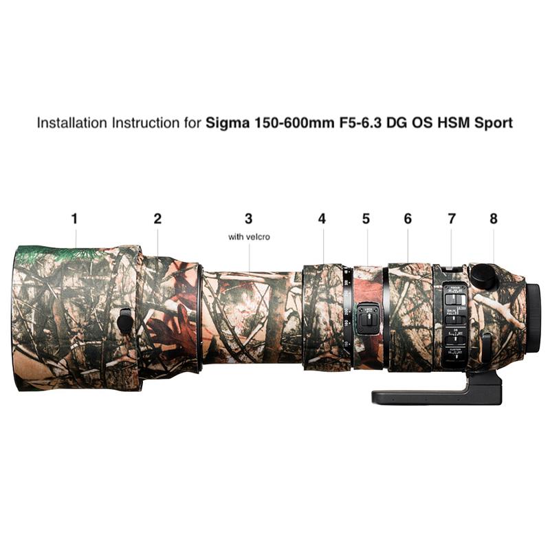 イージーカバー レンズオーク シグマ 150-600mm F5-6.3 DG OS HSM Sport 用 フォレスト カモフラージュ