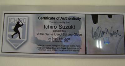 イチロー・実使用・ダブル直筆サイン)2004シーズン公式試合実使用 バッティンググローブ