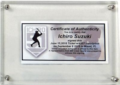 イチロー・トリプル直筆サイン)MLB通算3,000本安打達成記念イチロー試合用モデルバット