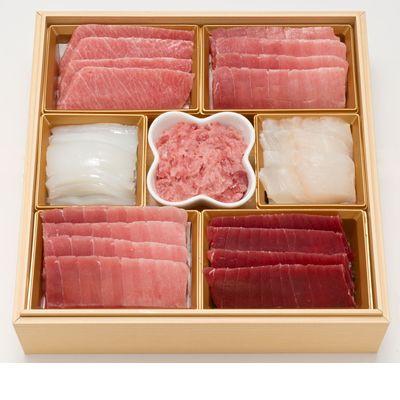 刺身重二段セット [同梱不可][冷凍] 『築地玉寿司』監修 北海道産天然海の幸 天然本マグロ 大トロ入