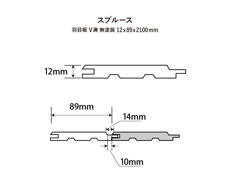 【スプルース】羽目板 V溝 無塗装 12x89x2100mm(8枚入)