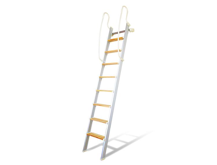 木・アルミ混合【ハイブリッドラダー】 アルミ製ロフトはしご 側面手すり仕様