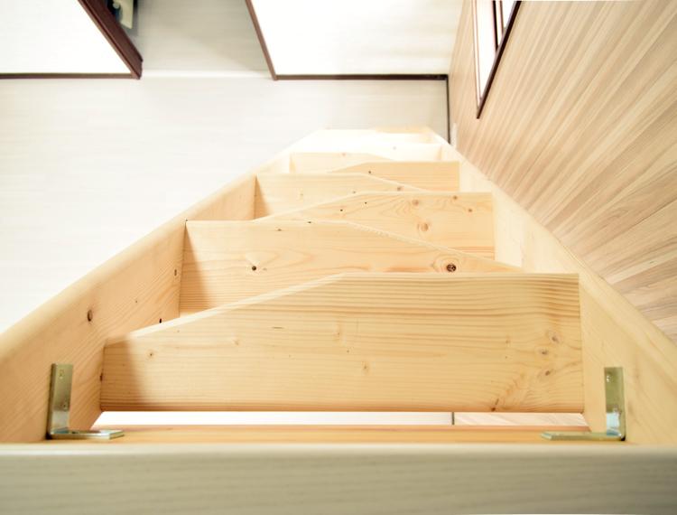 北欧産【デザインステップ】 木製ロフト階段 片側手すり仕様