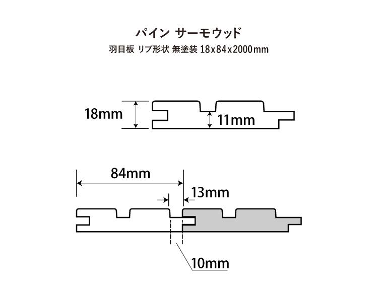 【パイン サーモウッド】羽目板 リブ形状 無塗装 18x84x2000mm(6枚入)